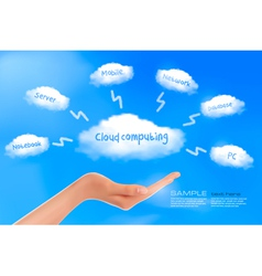 Cloud computing background with hand vector
