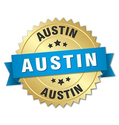 Austin round golden badge with blue ribbon vector