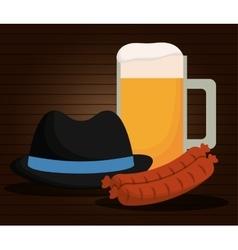 Beer hat sausage oktoberfest germany vector
