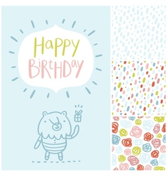Birthday party card and patterns set vector image vector image