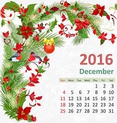 Calendar for 2016 December vector image vector image