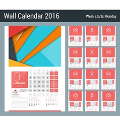Calendar for 2016 year design clean template with vector