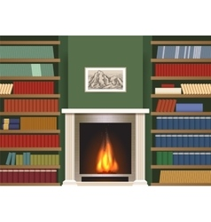 Classic interior with book shelves vector