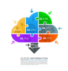 Cloud data with icons puzzle vector