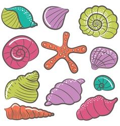 Colorful seashell set vector