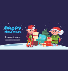 Cute elf on happy new year greeting card merry vector