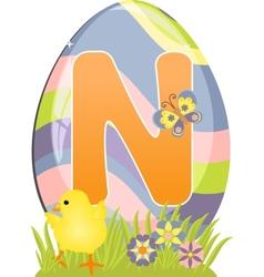 Cute initial letter N vector image