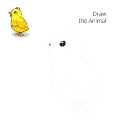 Draw the animal chicken educational game vector image vector image