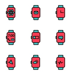 Flat line smart watch icon vector