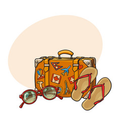 Flip flops sunglasses suitcase with tourist vector