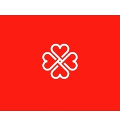 Four hearts social symbol Heart cross vector image vector image