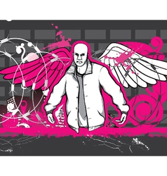 gangster with grunge background vector image