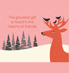 holiday greeting card with deer and bird friends vector image