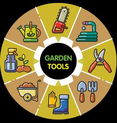 Infographic set of garden tools vector