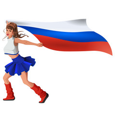 Russian woman fan holding flag beautiful girl vector
