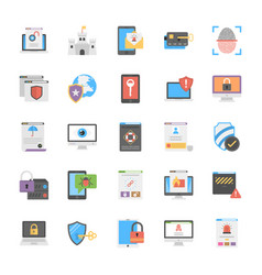set of cyber security icons flat design vector image vector image