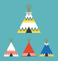 Set of tee pee tent of native american vector