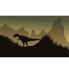 Silhouette of allosaurus in park vector