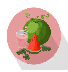 Summer fruits watermelon and smoothie vector