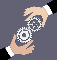 Two businessman hands with gears vector