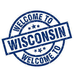 Welcome to wisconsin blue stamp vector