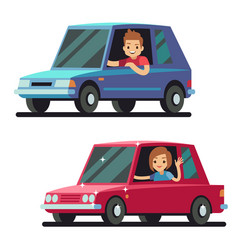 Young happy man and woman driver driving cars flat vector