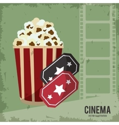 Pop corn ticket movie film cinema icon vector