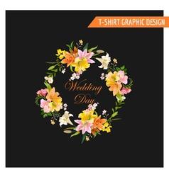 Vintage Floral Graphic Design - Summer Lily Flower vector image