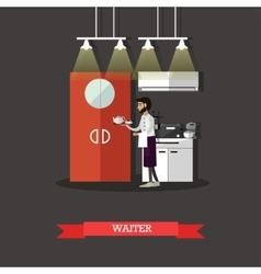 Waiter holds a tray with tea cup restaurant vector