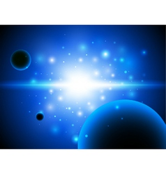Space background with stars and planet vector image