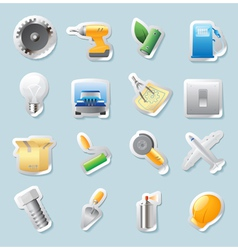 Sticker icons for industry vector image