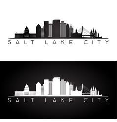 salt lake city usa skyline and landmarks silhouett vector image