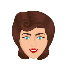 Colorful realistic face woman with pin up swirl vector