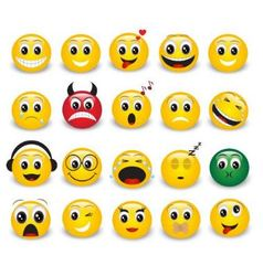 Set of round yellow emoticons vector