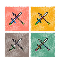 Collection of flat shading style icons sword and vector