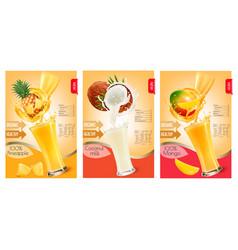 Set of labels of of fruit in juice splashes vector