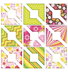 Easter set of corner design elements vector