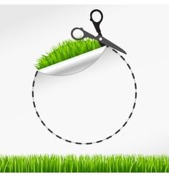 Scissors cut round sticker green grass vector