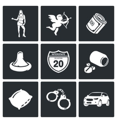 Street prostitution icons set vector