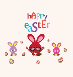 Happy easter bunnies egg so cute vector