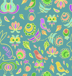 Rabbit in spring garden blue seamless pattern vector
