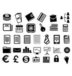 Business icons and symbols in flat style vector