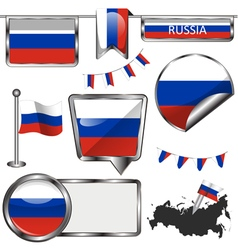 Glossy icons with russian flag vector
