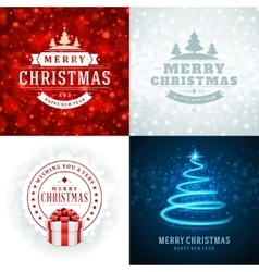 Christmas typography labels design and vector