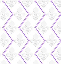 White 3d with colors fleur-de-lis with purple dots vector