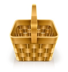 Wooden weave basket vector