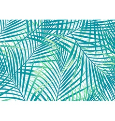 Green and blue palm leaves background vector image