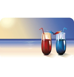 Two cocktails on summer beach vector