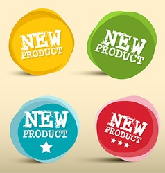 New product colorful circles labels set vector