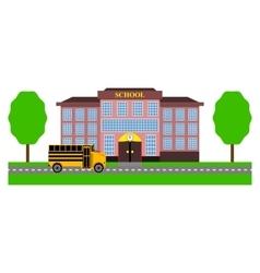 School bus rides to school vector
